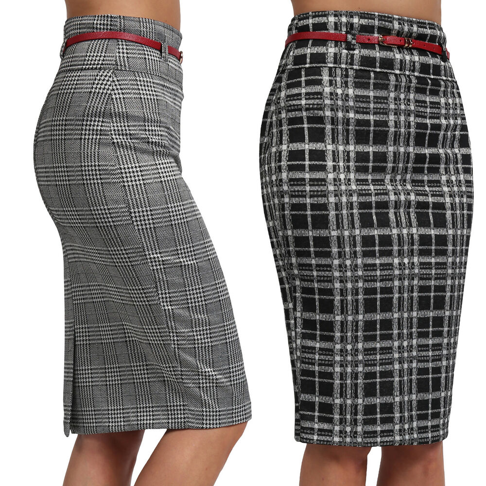 8cf398d3e2 Details about NE PEOPLE Womens Plaid High Waisted Knee Length Belted Pencil  Skirts [NEWSK37]