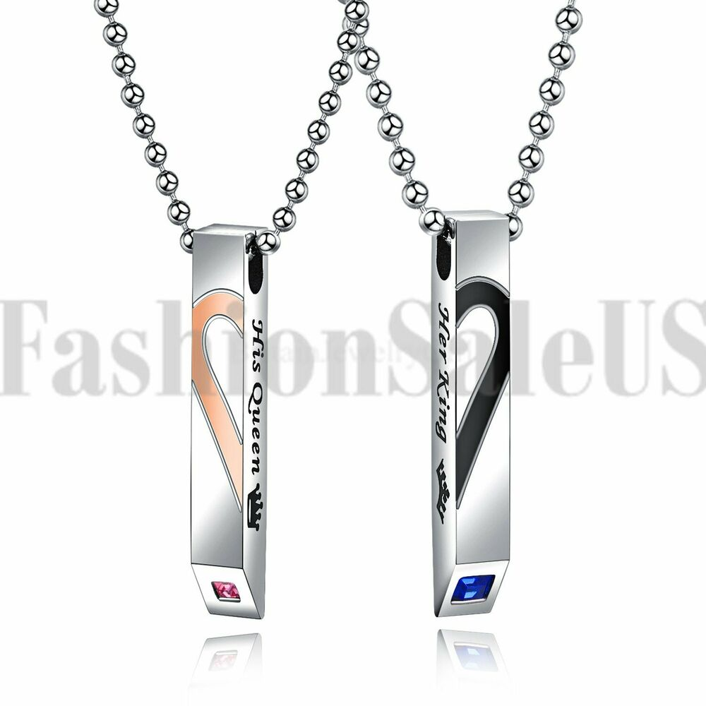 11f4580382 Details about Stainless Steel His Queen Her King Matching Heart Tag Pendant  Couple Necklace