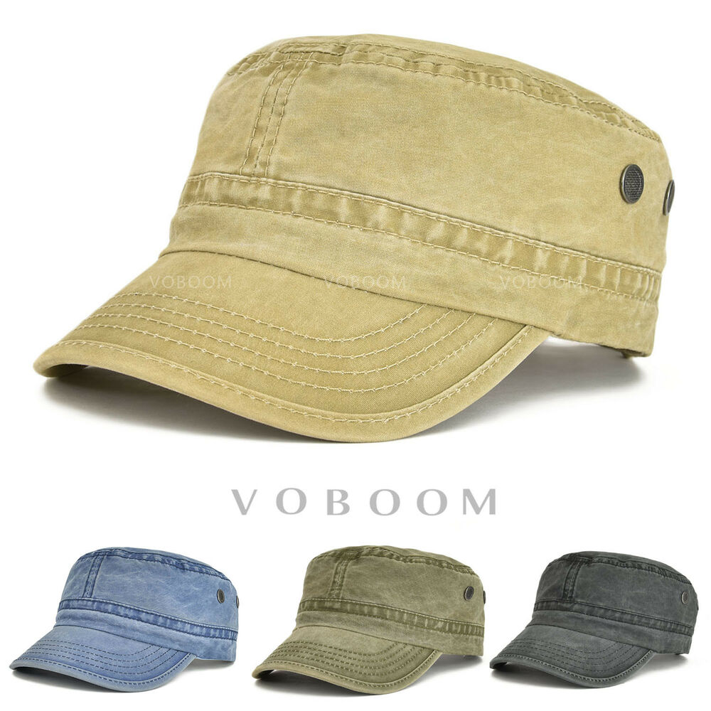 a3eeb183547285 Details about Retro 100% Washing Cotton Military Cap Vintage Washed Cotton Flat  Top Army Hat