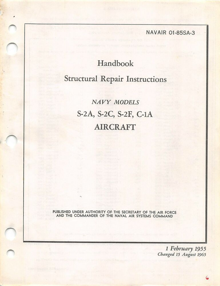S 2 Tracker And C 1 Trader Structural Repair Insts Flight Manual