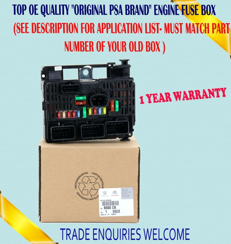 Fits Peugeot 206 307 607 807 Expert Central Electronic Control Fuse Box For Sale Engine Ebay