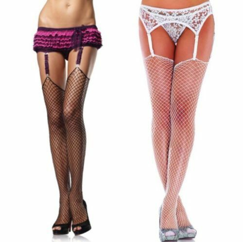 2bbe67e55ed11 Leg Avenue Black Industrial Net/Fishnet Thigh High Plus Size Stockings  hosiery | eBay