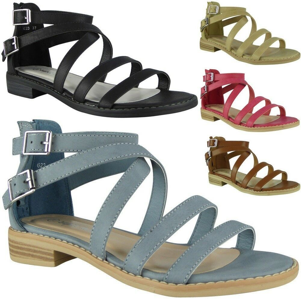 b75dd1e8cd3c6c Details about Womens Strappy Gladiator Sandals Ladies Summer Buckle Flats Low  Heel Shoes Size