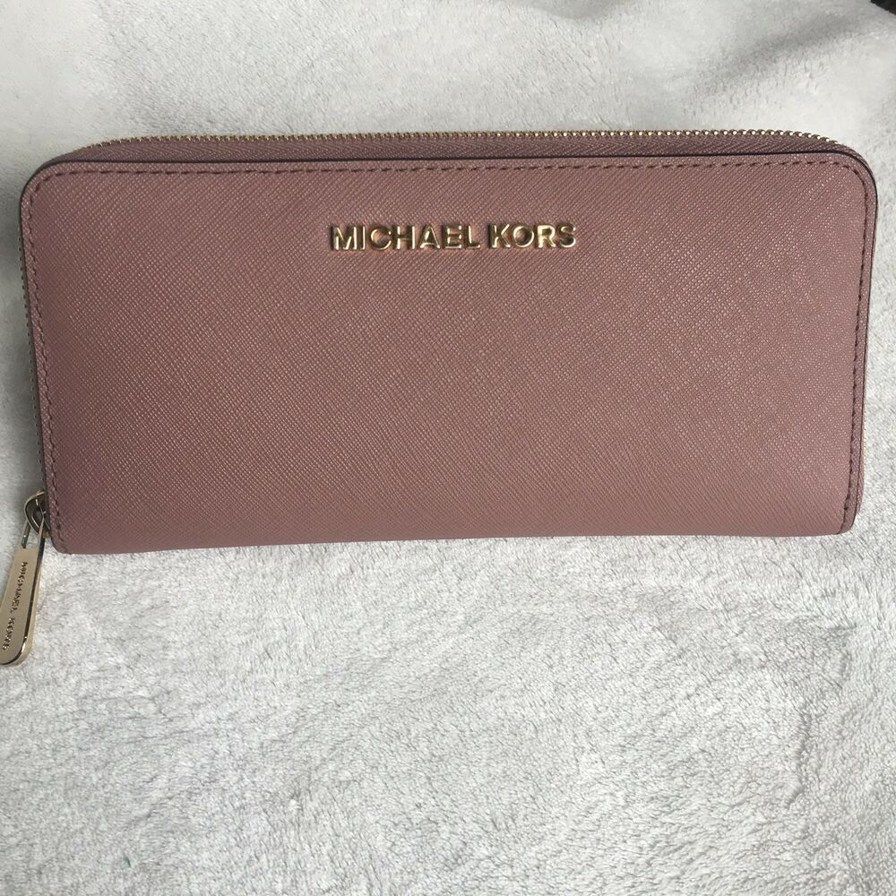 706777bb0e0f Details about Michael Michael Kors Jet Set Travel Continental Dusty Rose  Wallet