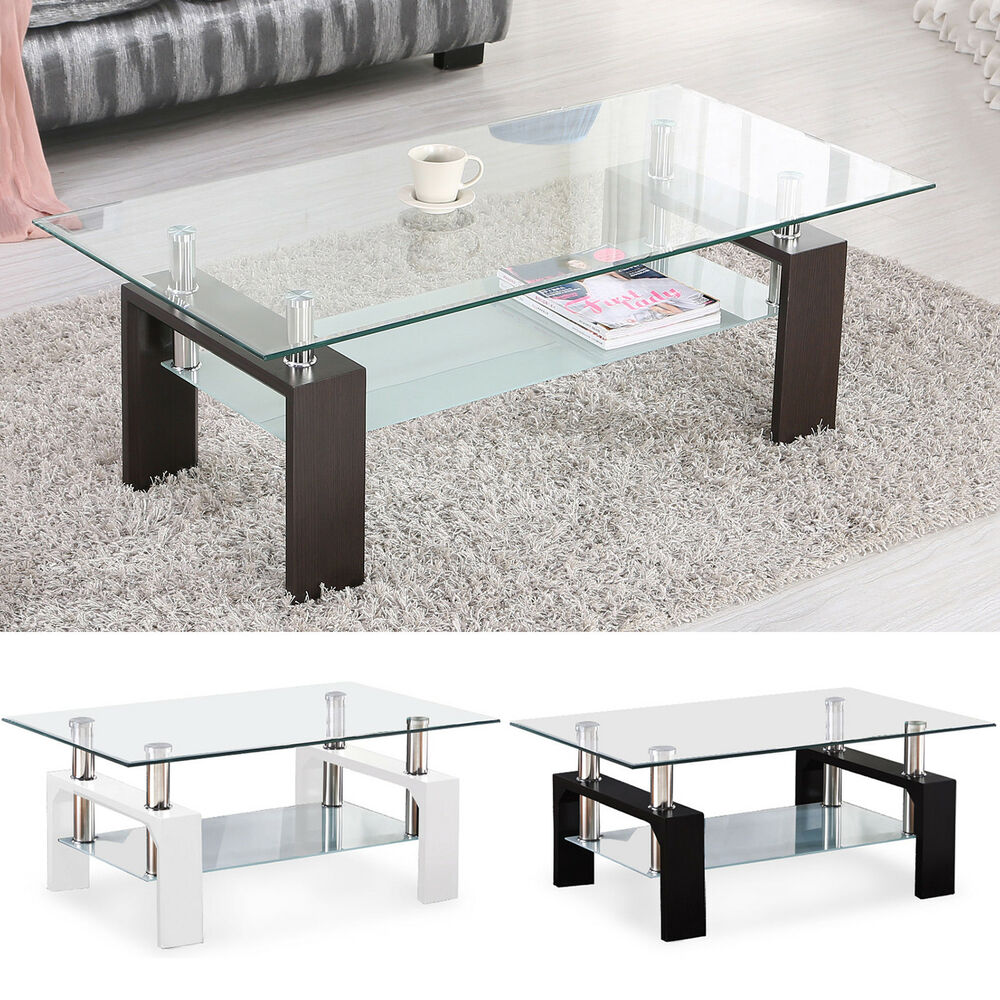 Modern glass chrome wood coffee table shelf rectangular - Brickmakers coffee table living room ...