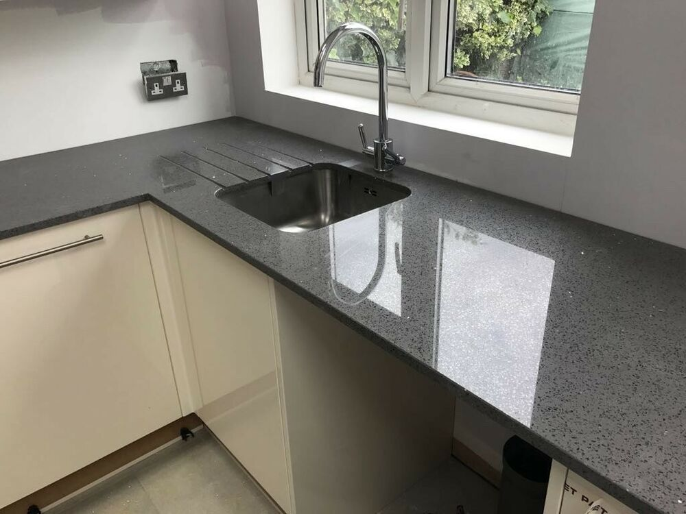 Grey Mirror Sparkle Kitchen Worktop | EBay