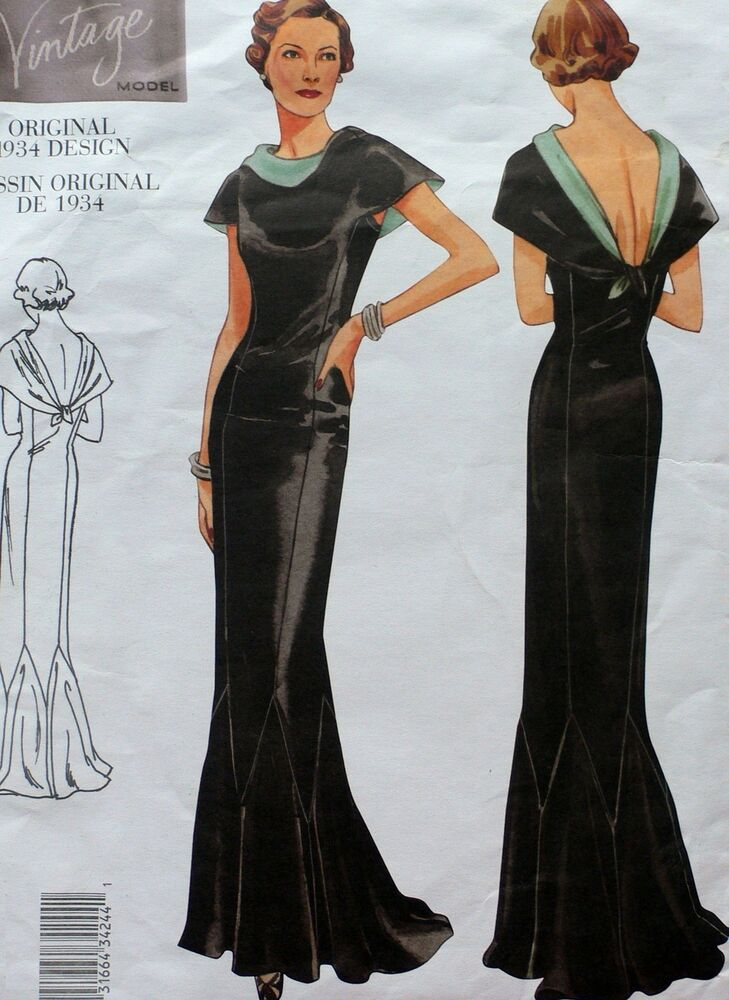 7b67f58041030 Details about RETIRED VOGUE VINTAGE 1930's RED CARPET EVENING GOWN LOW BACK  DRESS SEW PATTERN