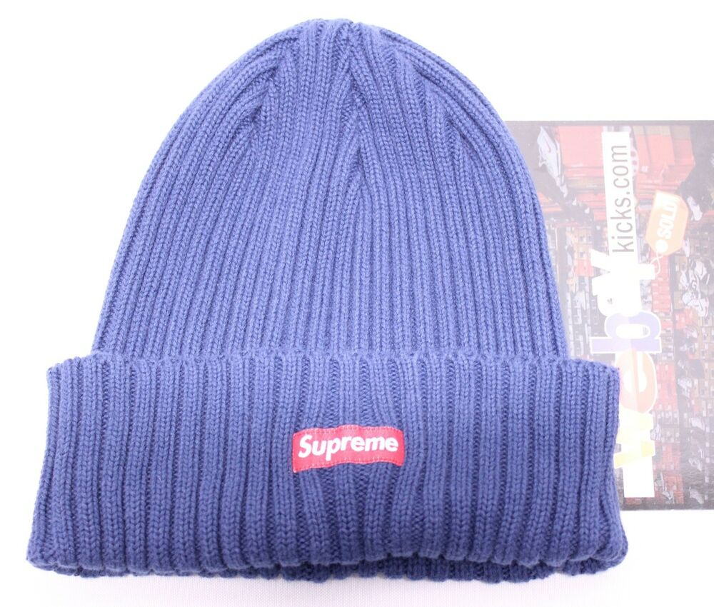 48ac60fced008 Supreme New York Heather Loose Gauge Box Logo Navy Blue Red Beanie Hat FW17  New
