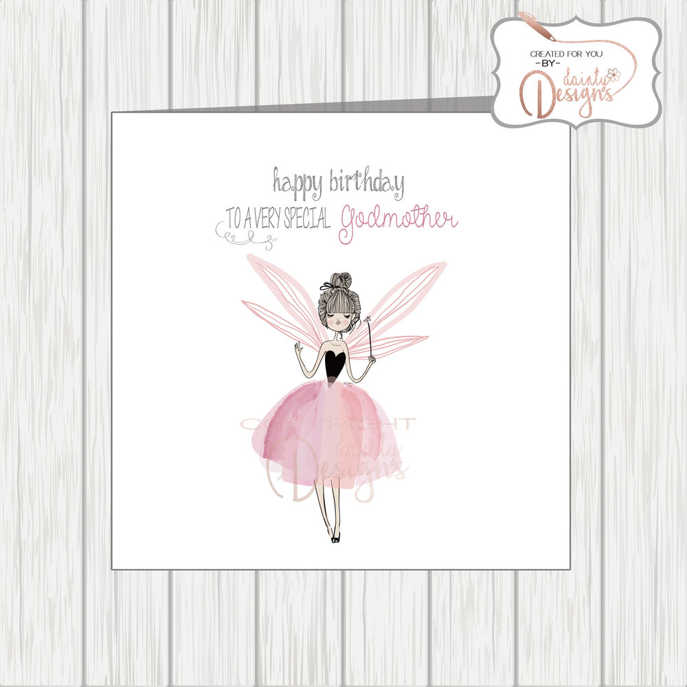 Details About SPECIAL GODMOTHER Birthday Card Beautiful Pink Fairy Fairytale Watercolour