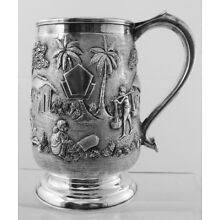 Fabulous Sterling Silver Cup with Asian Motif