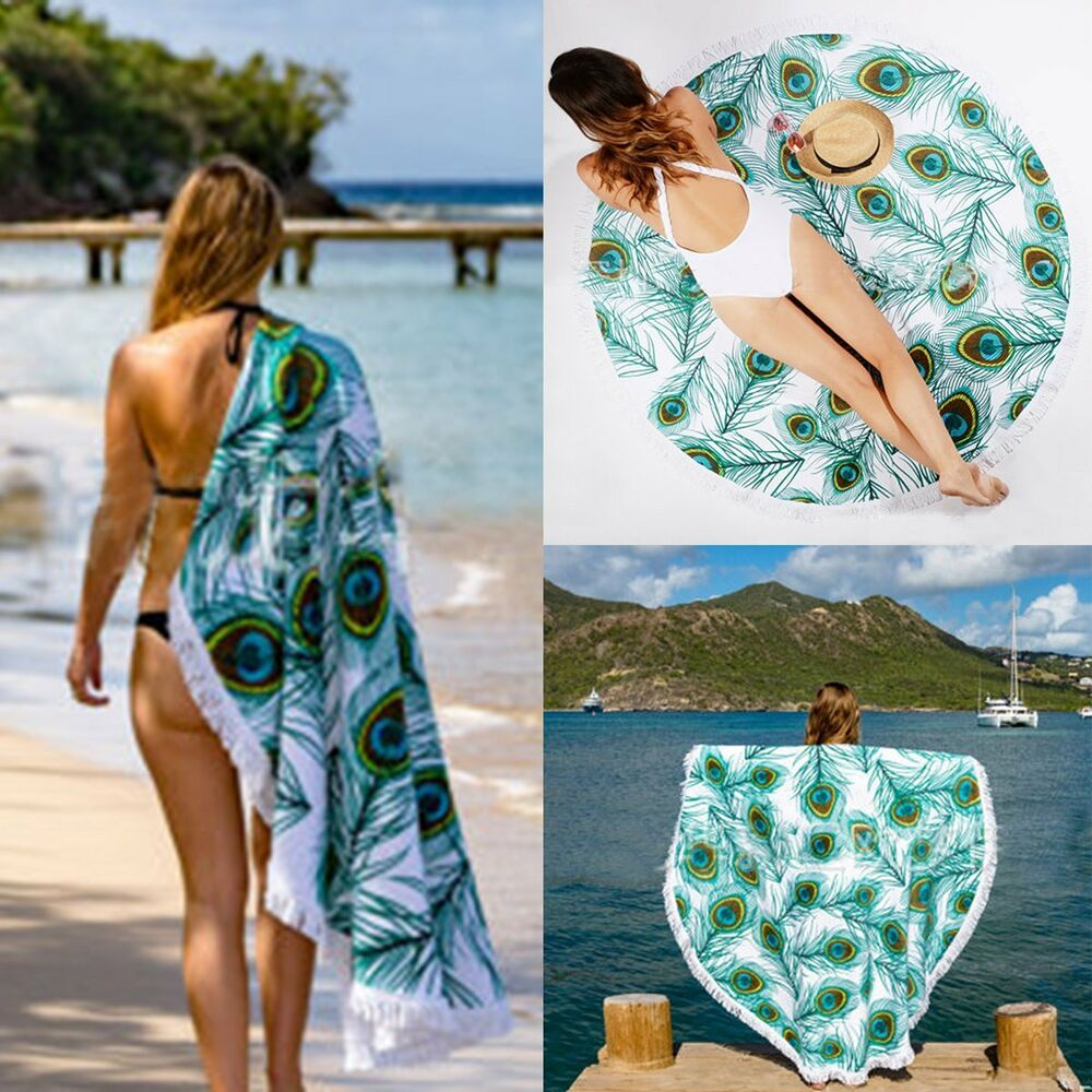 c884d2ca20 Details about New Gypsy Peacock Feather Printed Round Beach Throw Towels  Tassel Yoga Mat Shawl