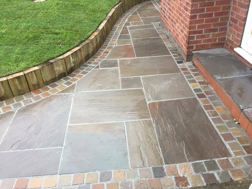 Natural indian sand stone paving raj blend patio for Garden decking and slabs