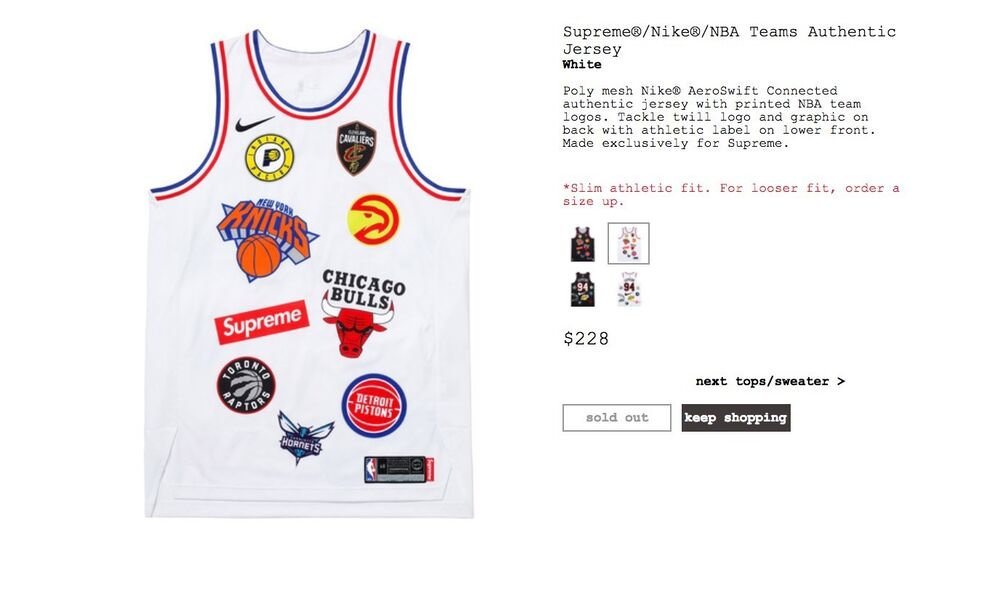 Details about Supreme X NIKE X NBA teams Authentic Jersey WHITE LARGE c7010911a