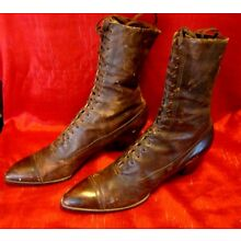 Vintage - 1924 - Hanan & Son - Womens - High Top Lace Up Boots -