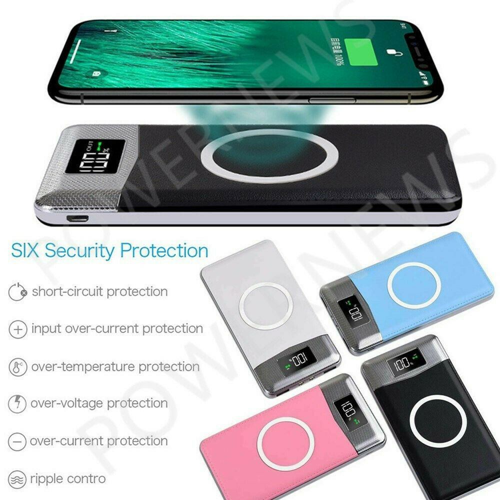 500000mah Power Bank Qi Wireless Charging 2 Usb Lcd Led Portable Powerbank Fan In 1 Battery Charger Ebay