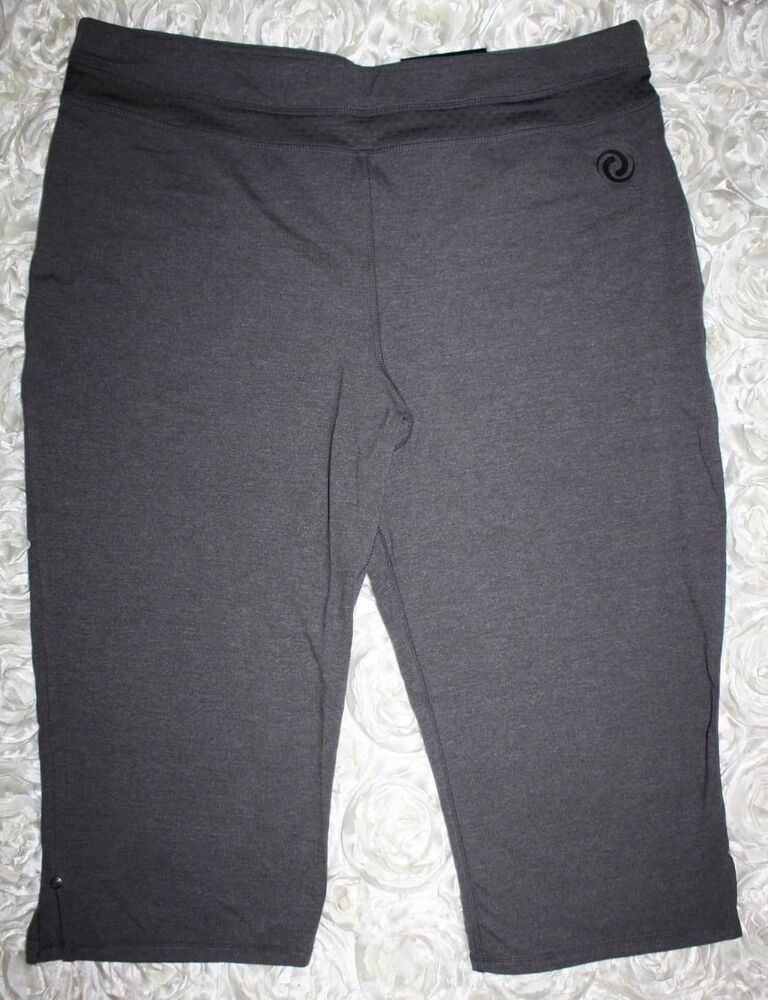 04a69cd249d19 Details about Penningtons Active Zone Basic Relaxed Capri Leggings Flare Leg  1X 18/20 Gray