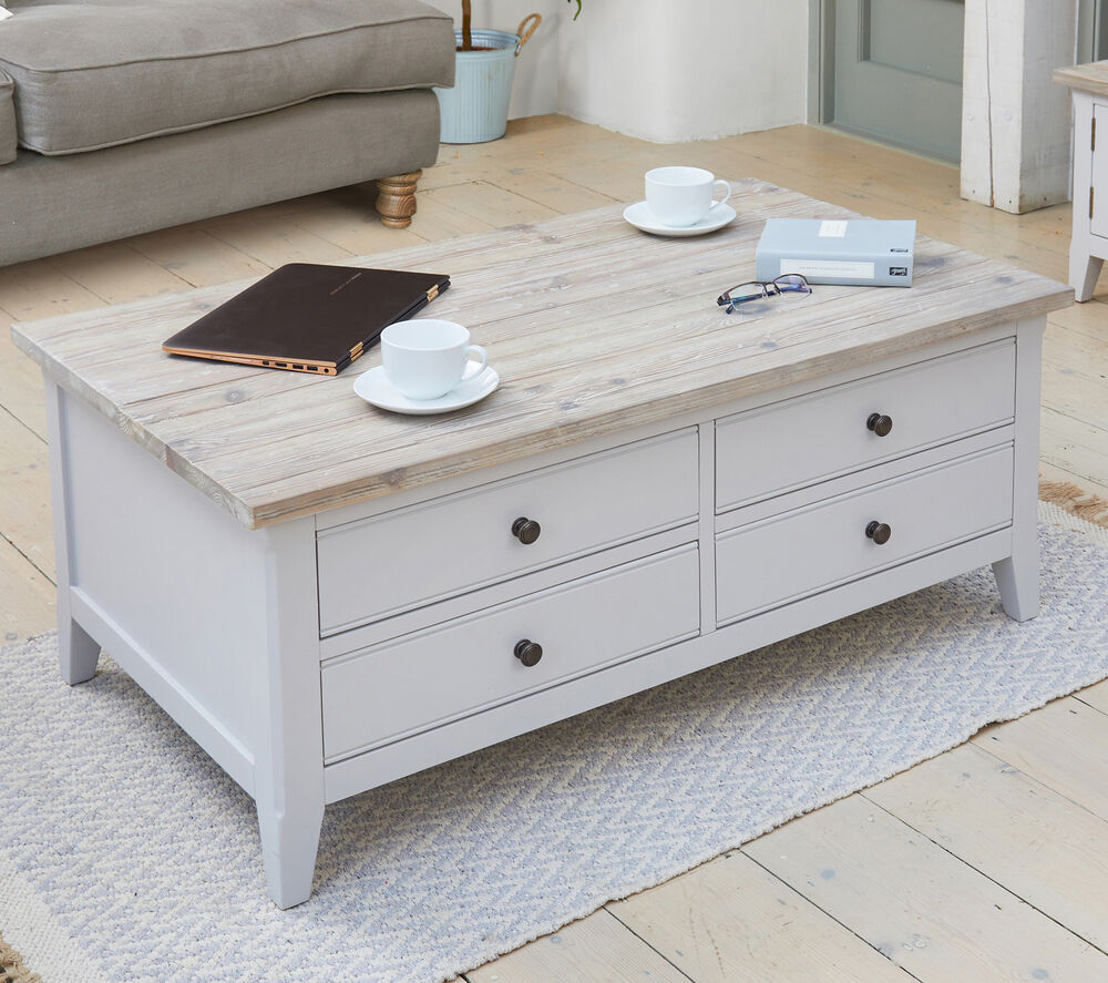 Signature Grey Painted Living Room Furniture Large Coffee Table With