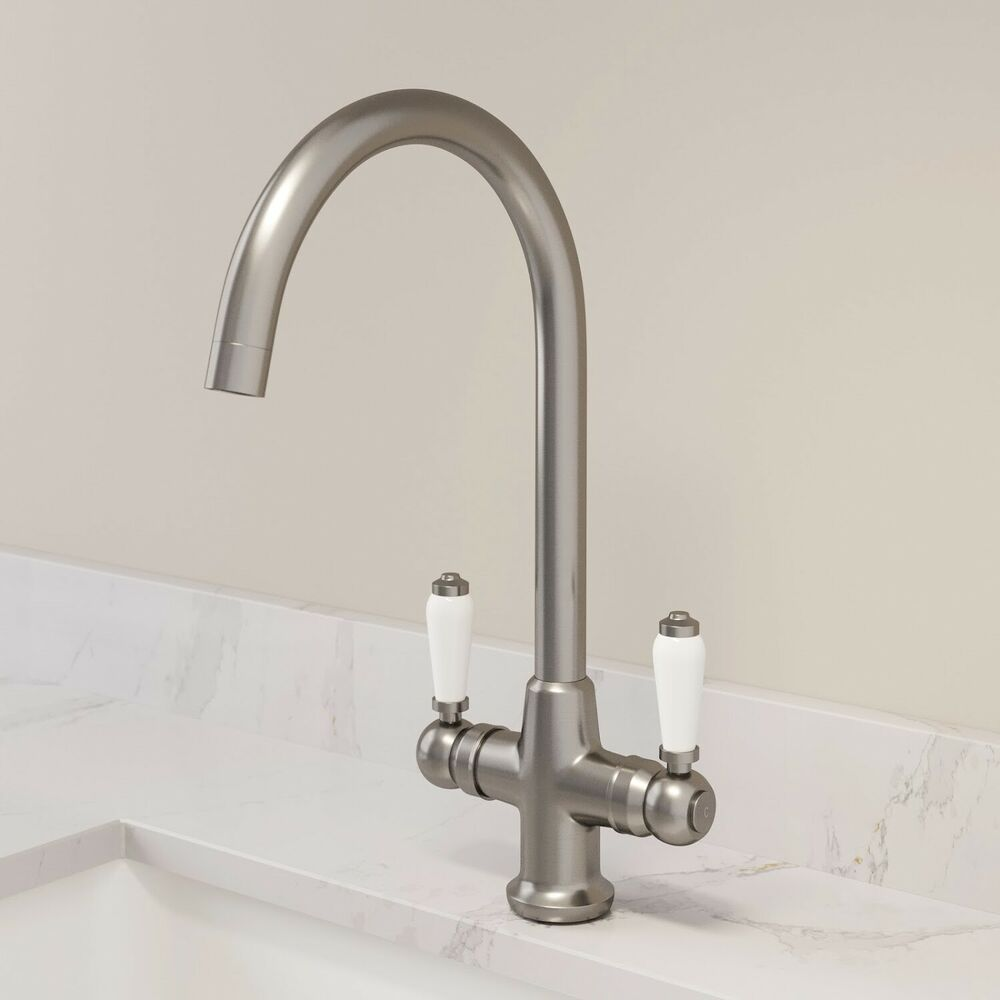 Traditional Mono Kitchen Sink Mixer Tap Twin Ceramic Lever