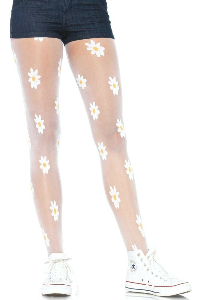 5bdc8fed41c6c Details about Leg Avenue Sheer Cute Daisy Flowers Woven Fancy Dress Tights/ Pantyhose One Size