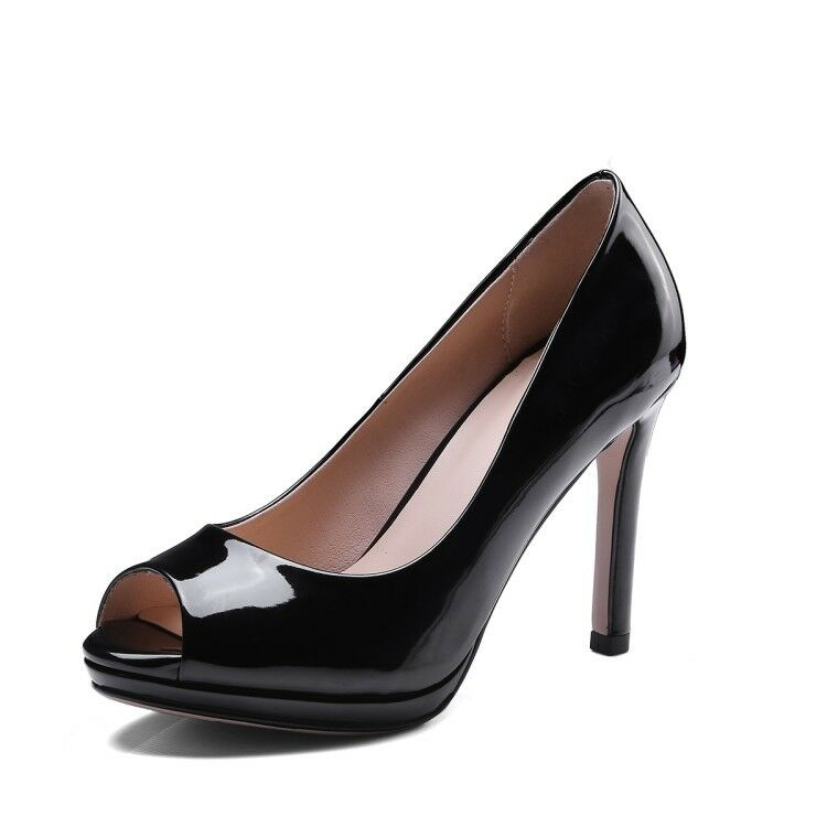 Ladies Round Toes Shoes Synthetic Leather Med Kitten Heels Pumps US Size S044