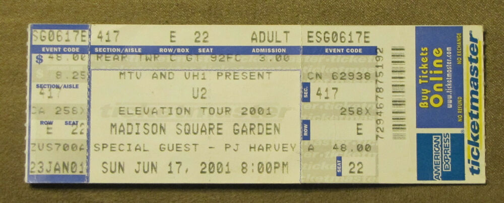 PJ Harvey U2 Completo De Ticketmaster Ticket Madison Square Garden 2001  Elevación Tour | EBay