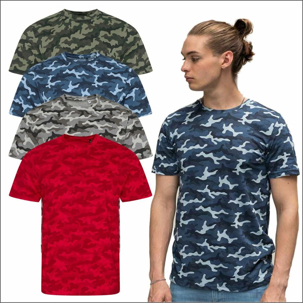 58b4f0b2 Details about AWDis Men's Classic Camouflage T-Shirt Army Print Camo Combat  T Shirt Casual TOP