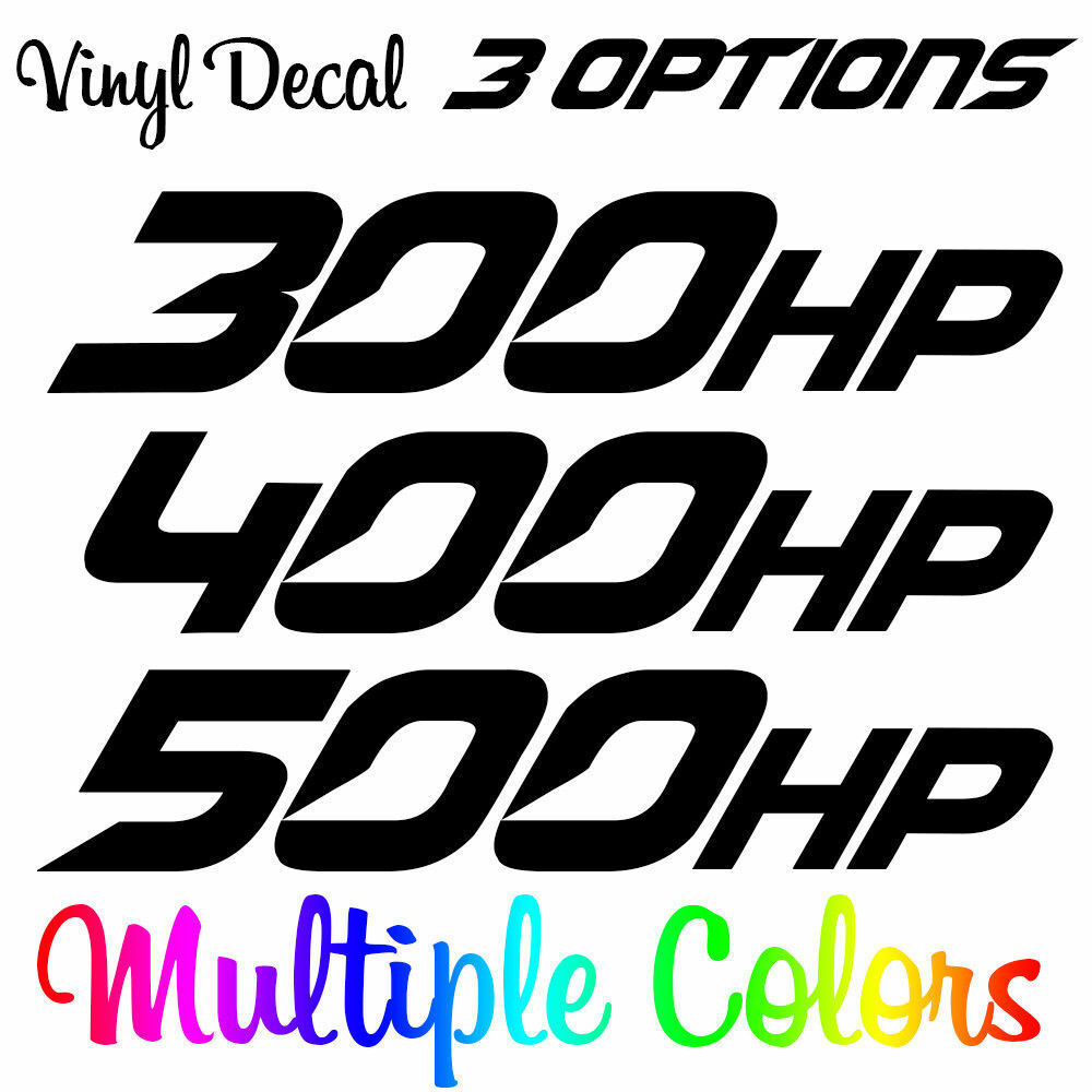 Details about 300hp 400hp 500hp horsepower decal vinyl die cut sticker choose your options