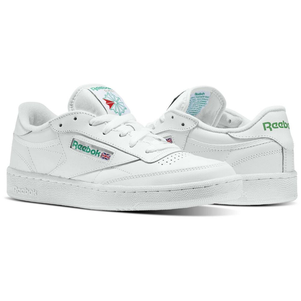 875668a1bc3 Details about REEBOK AR0456 CLUB C 85 LEATHER WHITE   GREEN MENS