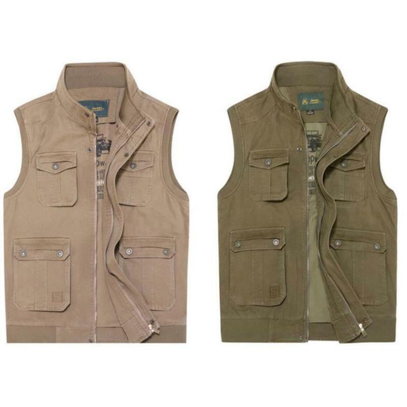 Details About Mens Multi Pocket Vest Safari Photographer Cargo Hunting Fishing Outdoor