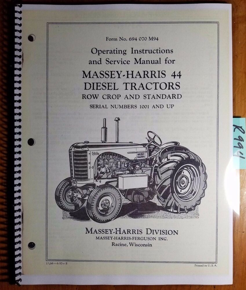 Massey Harris Ferguson 44 Diesel Tractor Row Crop Standard Owner Operator  Manual | eBay