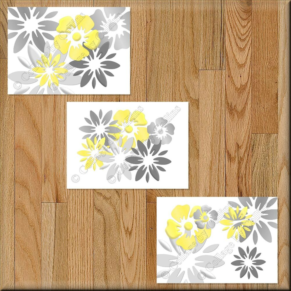 Details about yellow gray wall art picture print floral bathroom bedroom decor kitchen nursery