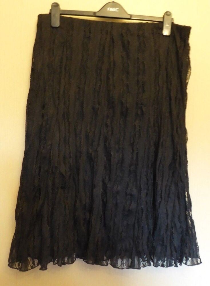 0089b9a37a5 Details about Per Una UK18 EU46 US14 new black stretch lace lined pull-on  crinkle finish skirt