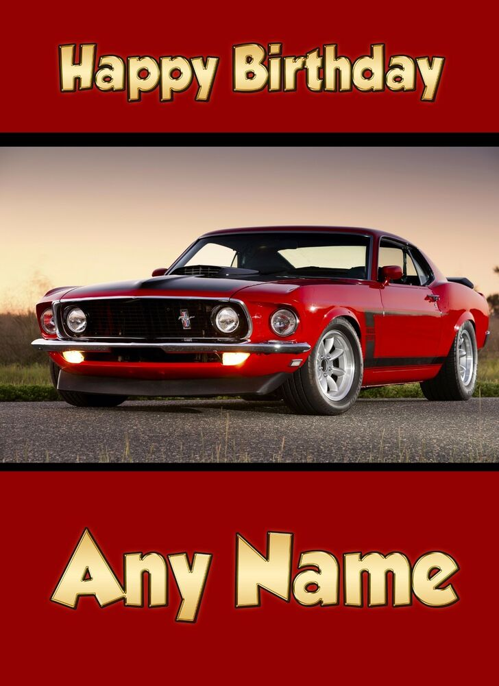 Personalised Classic Car Ford Mustang Birthday Card Husband Uncle