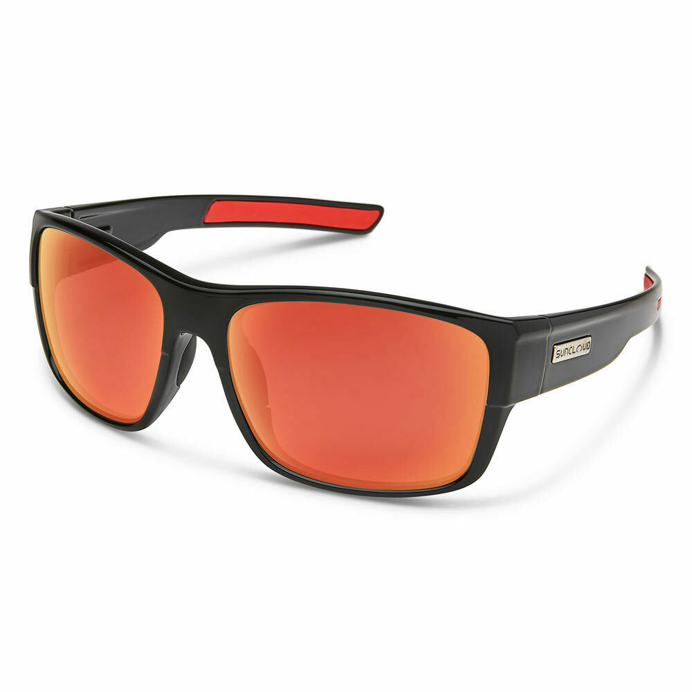 1abab7ffae1 Details about Suncloud Range Polarized Sunglasses Medium Fit Black Red  Mirror