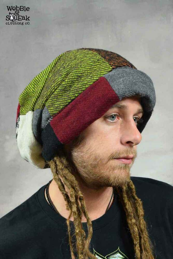 ecaf09997fe5d Details about DREADLOCK BEANIE HAT Rasta Extra Large Patchwork Wool Hippy  Psytrance Festival