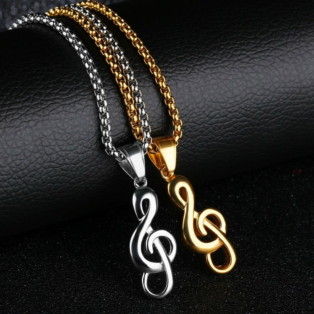 Details about Mens Women Stainless Steel Music Note Pendant Gold Silver  Necklace Rolo Chain d1b31b3c5