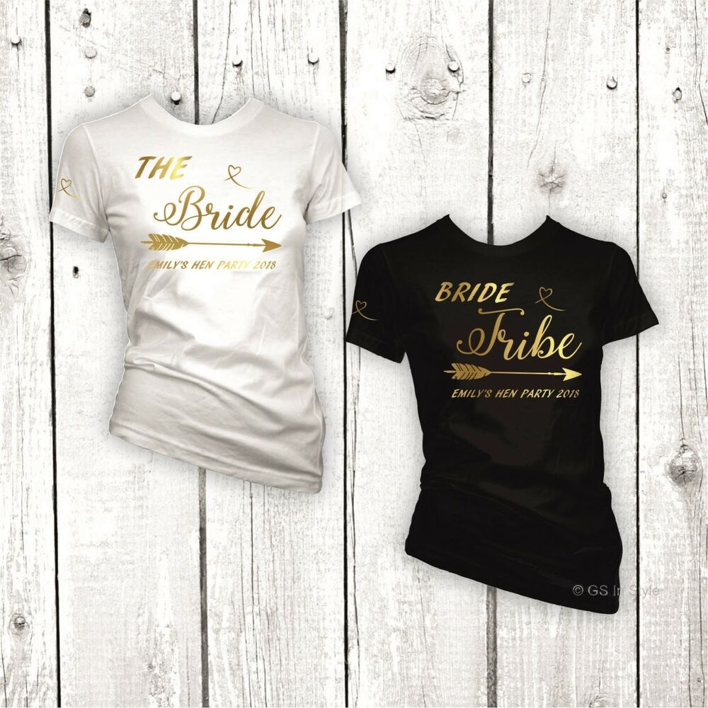4ca68c6db6 Details about PERSONALISED HEN DO PARTY BRIDE TRIBE T-SHIRT LADIES FIT FOIL  GOLD PRINT TEE TOP