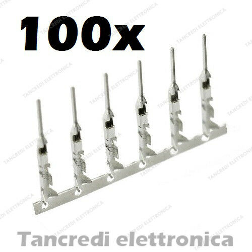 100x contatti maschio per connettore dupont metallici male contacts presa pin