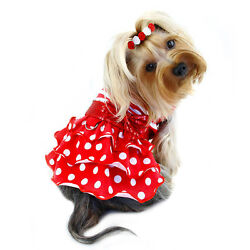 Klippo Dog Clothes Sparkling Bow Ruffle Layered Dress Red   XS-XL Puppy Pet