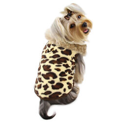 Klippo Padded Leopard Print Vest with Fur Collar Dog Clothes XS-XL Puppy Pet