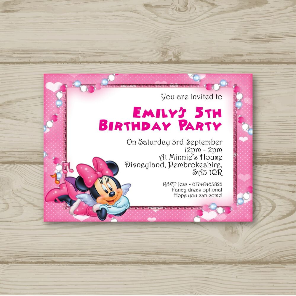 Details About Disney Minnie Mouse Birthday Party Invitations Personalised