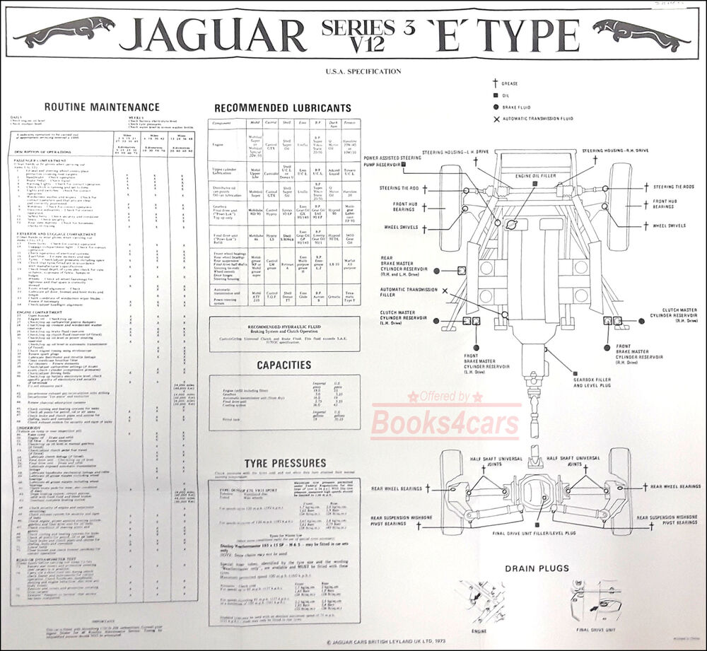 jaguar maintenance xke e type chart v12 s3 1971-1975 | ebay 1967 jaguar xke wiring diagram 1967 camaro radio wiring diagram
