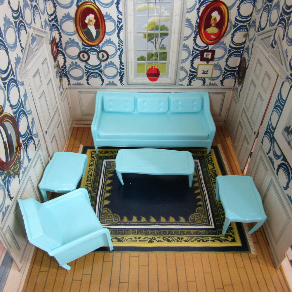 Details about vtg 50s dollhouse mid century modern living room furniture couch sofa plastic