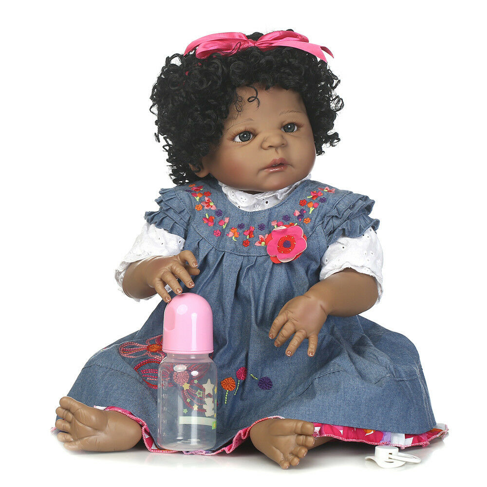 22 Quot African American Baby Doll Black Girl Silicone Body