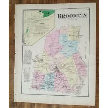 ANTIQUE Colored Map BROOKLYN, PENNSYLVANIA / A. Pomeroy & Co. 1872