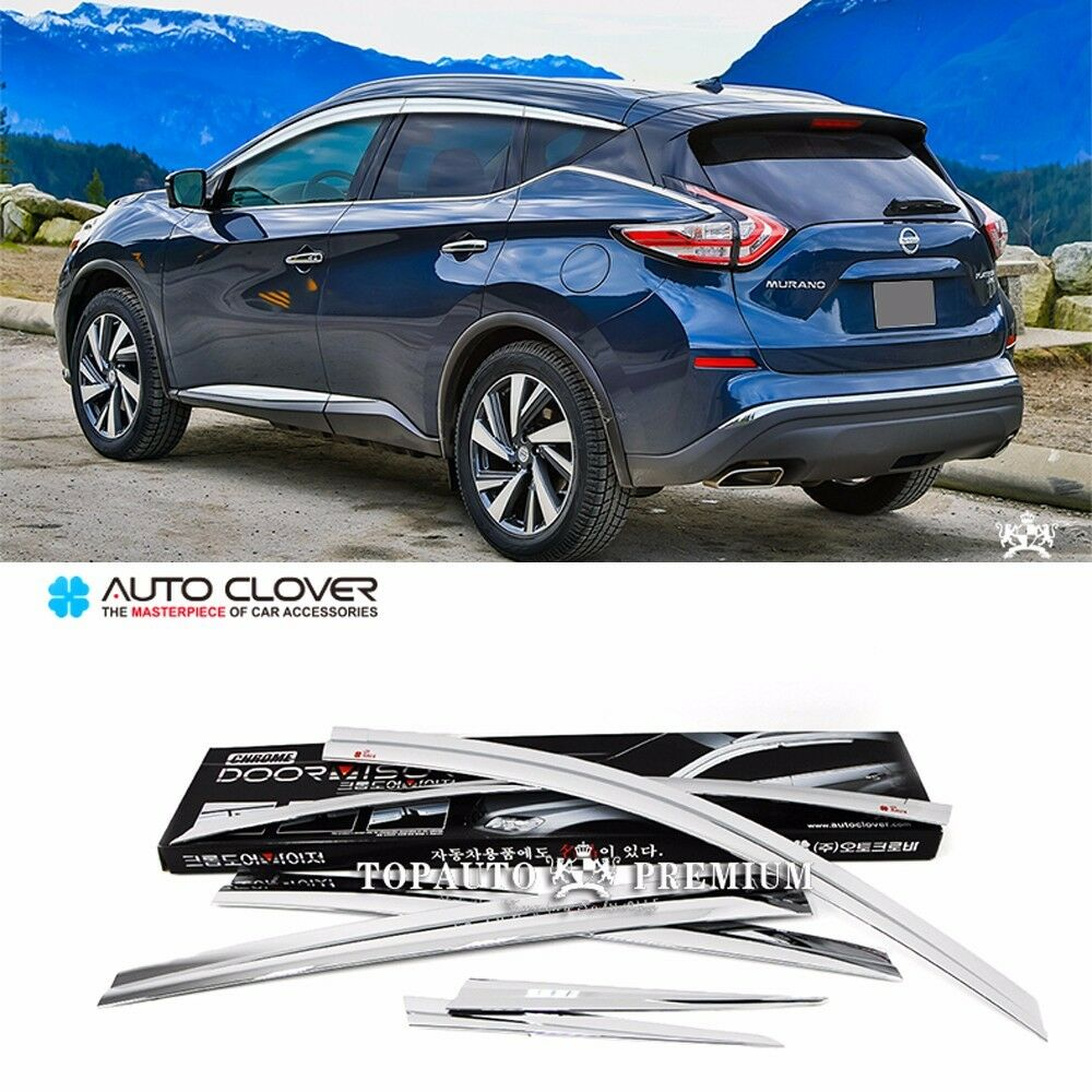Chrome Window Visor Sun Guard Wind Rain Shield For Nissan