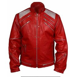 HLMichael Jackson Beat it ''MJ Beat it'' Real Leather Jacket with real metal mesh