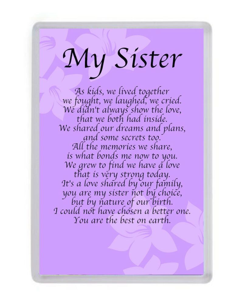 Details About Personalised My Sister Fridge Magnet Birthday Present Xmas Christmas Gift