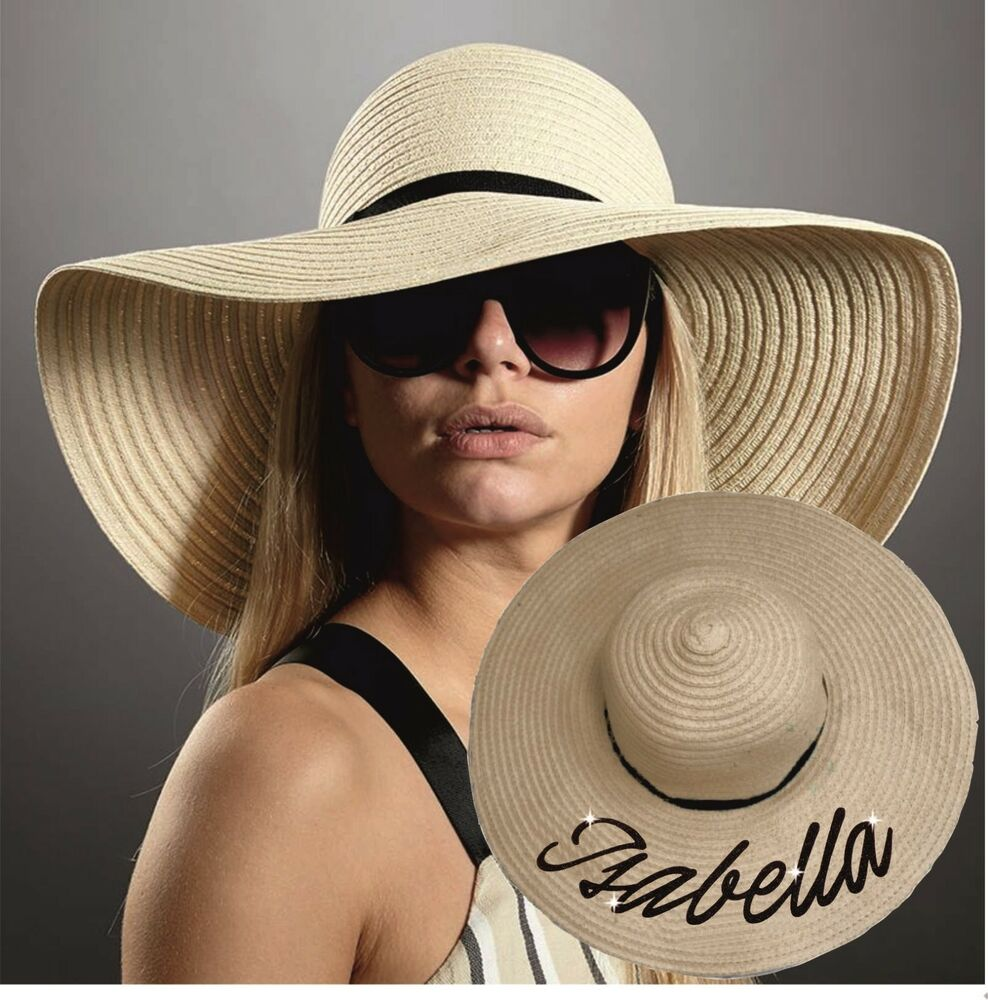 Details about PERSONALISED STRAW HAT GLITTER NAME SUMMER BEACH WIDE BRIM HAT  CRUSHABLE BRIDE 7ed030c1378