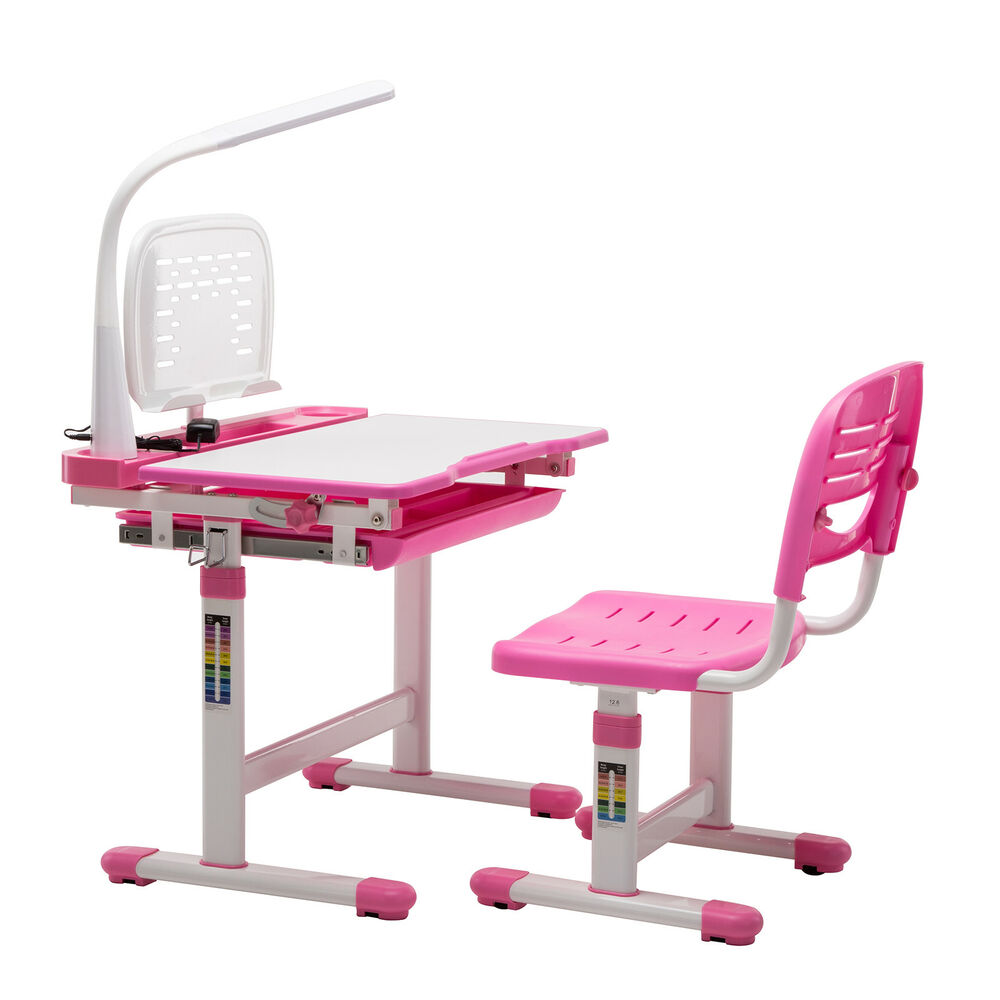 Pink Adjule Children S Study Desk Chair Set Child Kids Table With Lamp 699905309839 Ebay